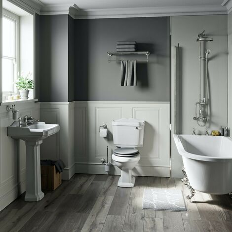 Orchard Winchester freestanding shower bath suite with grey seat