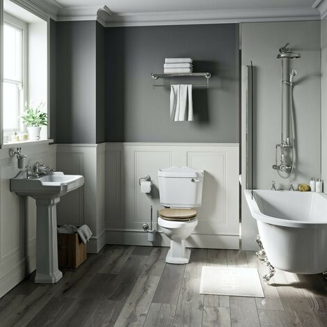 Orchard Winchester freestanding shower bath suite with limed oak effect seat