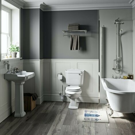 Orchard Winchester freestanding shower bath suite with white seat
