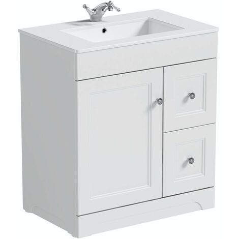 Orchard Winchester white floorstanding vanity unit and quartz-top basin 760mm