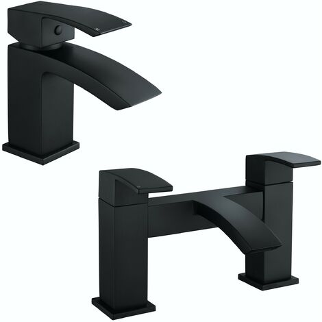 Orchard Wye black basin and bath mixer tap pack