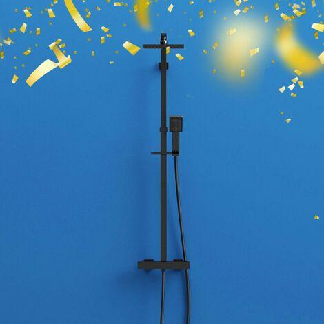 "main image of ""Orchard Wye black thermostatic bar valve shower system"""