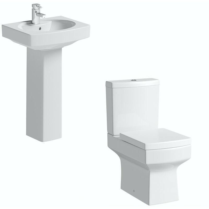 Wye cloakroom suite with full pedestal basin 555mm - Orchard