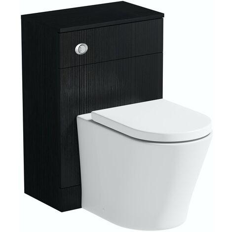 Orchard Wye essen black back to wall unit and contemporary toilet with soft close seat