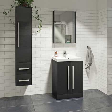 Orchard Wye essen black furniture package with floorstanding vanity unit 600mm