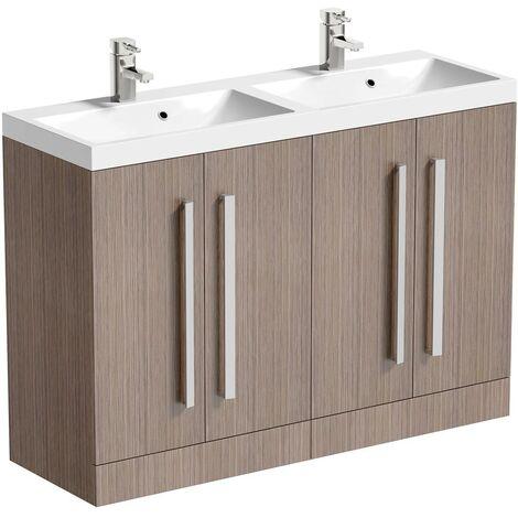 Orchard Wye walnut floorstanding double vanity unit and basin 1200mm