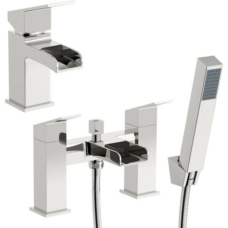 Orchard Wye waterfall basin and bath shower mixer tap pack