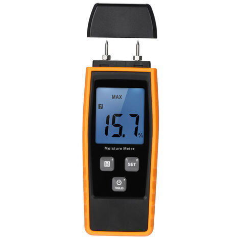 Ordinateur De Poche Mini Humidimetre Metre Damp Lumber Lcd D'Humidite Du Bois Detecteur D'Humidite Testeur Pour Bois Bois Plantes Pour Cloisons Seches Panneaux De Gypse Brique De Mortier De Beton Avec 2 Pin Sonde Plage: 0% ~ 80%