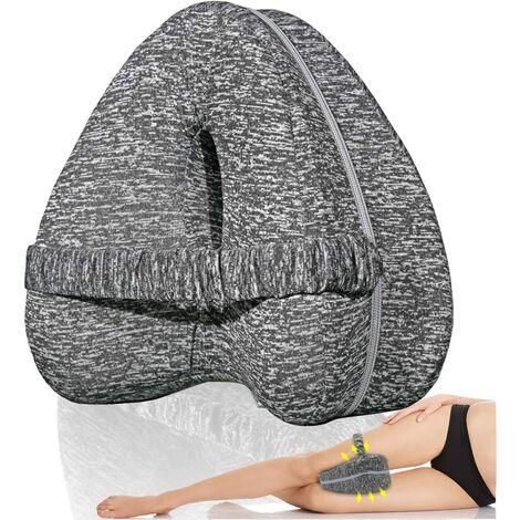Oreiller de genou avec sangle élastique, coussin orthopédique de positionneur de jambe, idéal pour l'alignement de la colonne vertébrale, de la hanche, du dos, des articulations et du nerf sciatique - Favorise un meilleur sommeil avec housse respirante et