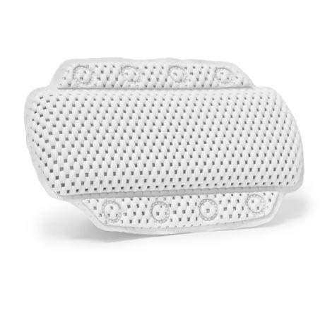 Oreiller de relaxation pour baignoire Coussin de nuque Appui-tête salle de bain 8 ventouses - blanc