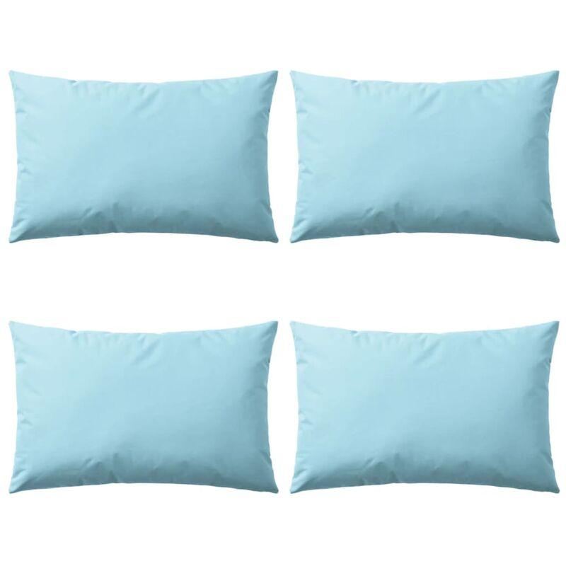 Oreiller d'extérieur 4 pcs 60 x 40 cm Bleu clair