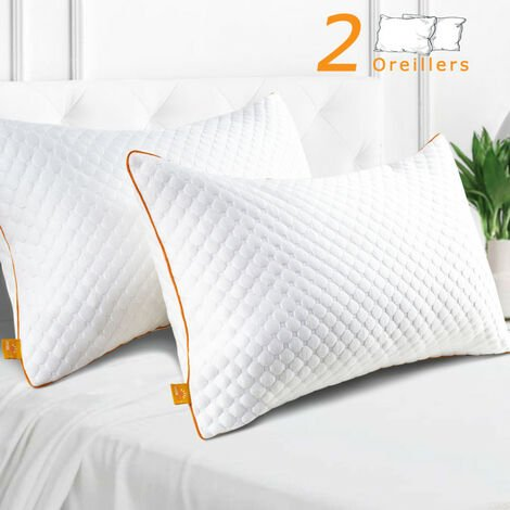 """main image of """"Oreillers 50x70cm Lot de 2 - Oreiller avec Taies Amovibles - Oreillers Respirant et Confortable - Coussin Microfibre -Anti-Acarien -Maxzzz"""""""