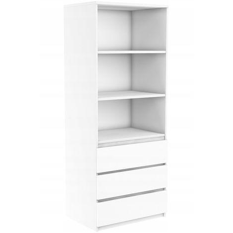ORENSE | Meuble de rangement avec casiers bureau/salon/chambre | 180x74x35 | Bibliothèque contemporaine | Etagères livres déco | Blanc
