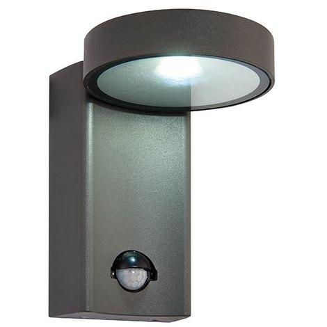Oreti PIR IP44 10W Outdoor Wall Security Light Textured Dark Matt Anthracite