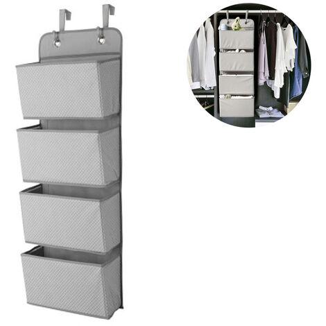 Organisateur à suspendre avec 4 poches, tablette suspendue pliable avec 2 crochets pour serviettes, couches, jouets dans le placard de la chambre des enfants, au-dessus de la porte ou fixation murale, gris