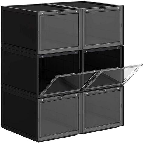 Organisateur boîte rangement à chaussures empilable plastique avec ouverture lot de 6 28 x 36 x 22 cm - Or