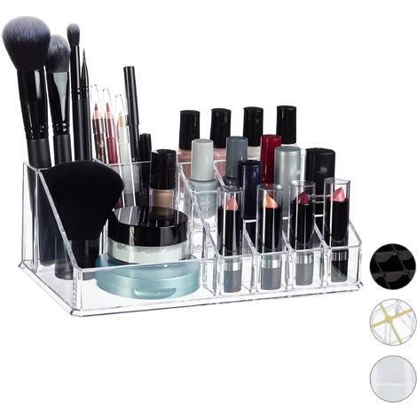 Organisateur Cosmétique Acrylique Rangement Make-Up 16 Casier Maquillage Support Rouge à Lèvre, Transparent