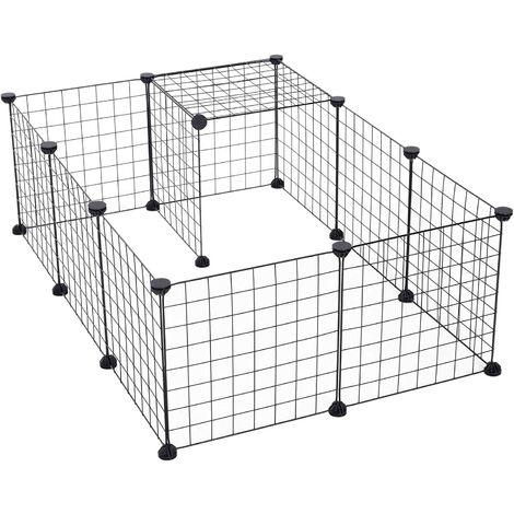 Organisateur de Cubes de Stockage de Fil de métal | Clôture Mobile de Yard de Fil en métal de Produits d'animal familier (Noir, 12 Panneaux)