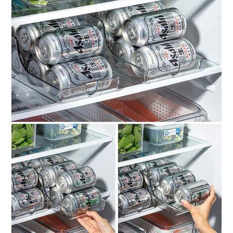 Organisateur de réfrigérateur Poubelles Pop Soda Distributeur de boissons Support de boisson pour réfrigérateur, congélateur, cuisine, comptoirs, armoires - Support de rangement pour garde-manger en conserve en plastique transparent