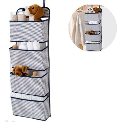 Organisateur suspendu avec 4 poches, étagère suspendue pliable avec 2 crochets pour serviettes, couches, jouets dans le placard de la chambre des enfants, au-dessus de la porte ou fixation murale
