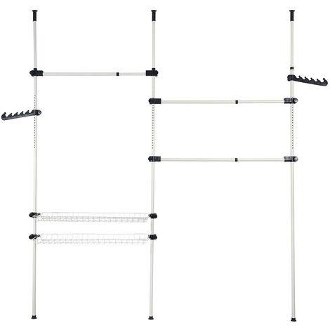 Organisateur Télescopique Armoire, Support Télescopique Vêtement, 320 x 200 cm, Blanc, Matériau: PP, Tubes en fer