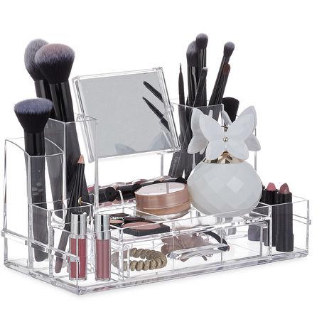 Organiseur avec tiroir, boîte acrylique miroir et nombreux compartiments, HLP 19 x 30 x 14,5 cm, transparente