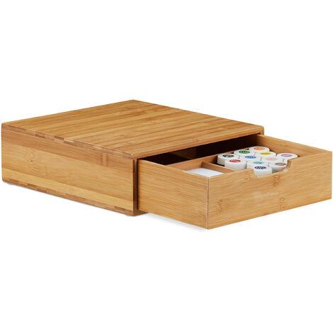 Organiseur bureau, Compartiments, Bac à courrier A4, 1 Tiroir, Rangement, Bambou, HLP 10 x 29,5 x 30cm, Nature