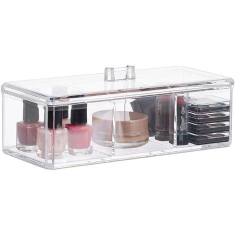 Organiseur cosmétique, Support de maquillage, 3 compartiments, Boîte acrylique, 8 x 22,5 x 9,5 cm, transparent