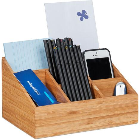organiseur de bureau, 6 compartiments pour stylos, feuilles, lettres, agrafeuses, bambou, naturel