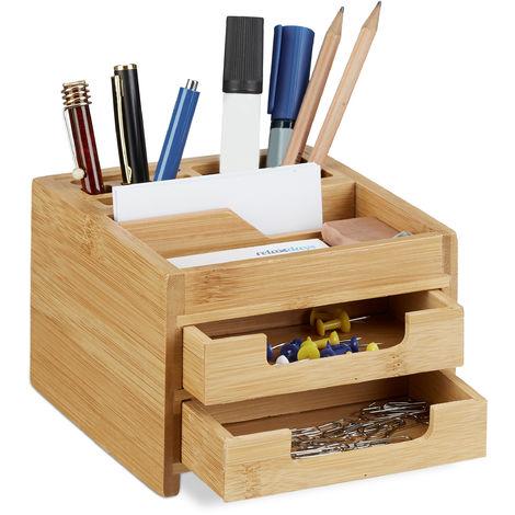 Organiseur de bureau bambou distributeur de bureau porte-stylos 2 tiroirs HxlxP: 9,5 x 12,5 x 15 cm, nature