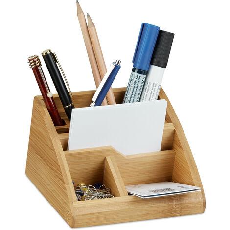 Organiseur de bureau bambou distributeur de bureau porte-stylos boîte HxlxP: 9 x 13 x 16 cm, nature