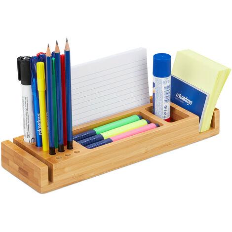 Organiseur de bureau, différentes couleurs, bambou, pot à crayon, boîte de rangement, 3,5x29,5x9,5 cm, nature