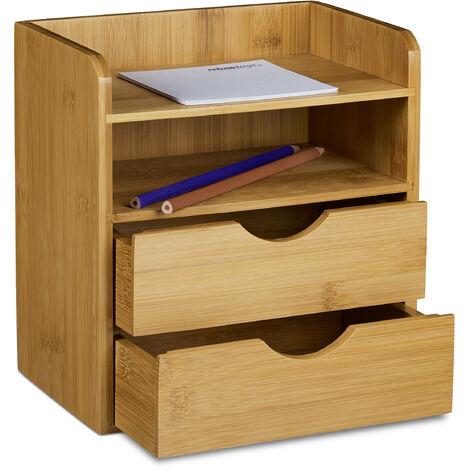 Organiseur de bureau en bambou casier de rangement H x l x P: 21 x 20 x 13 cm 2 tiroirs porte-document corbeille à courrier ordre ranger distributeur de bureau en bois, nature
