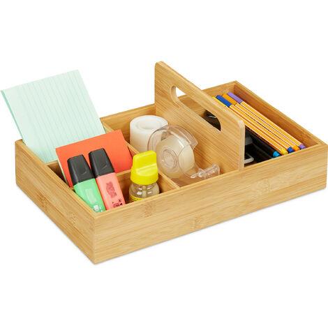 Organiseur de bureau en bambou, pour le bureau et le domicile, 5 compartiments, HLP 12,5x32,5x20,5 cm, naturel