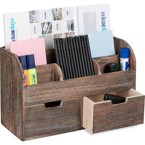 Organiseur de bureau, Organisateur, 6 compartiments, Tiroirs, Fournitures, HxLxP : 25x36,5x15cm, marron foncé