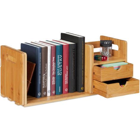 Organiseur de bureau, Organisateur en bambou, bibliothèque, 2 tiroirs, fournitures, HLP 21x80,5x19 cm, nature