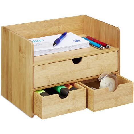 Organiseur de bureau, Organisateur en bambou, compartiments, tiroirs, fournitures, HLP 21 x 30 x 20 cm, nature