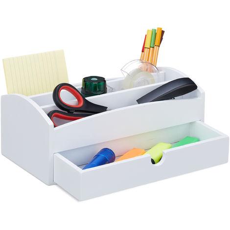 Organiseur de bureau, Organiseur en bambou, avec compartiments et tiroir, Bureau, HLP 11 x 27,5 x 15 cm, blanc