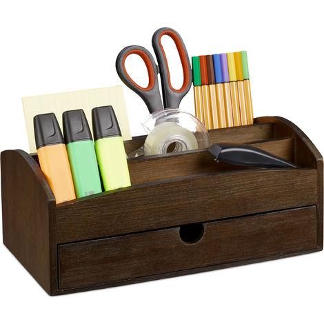 Organiseur de bureau, Organiseur en bambou, avec compartiments et tiroir, HLP 11 x 27,5 x 15 cm, marron foncé