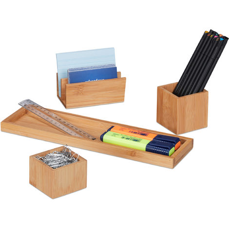 Organiseur de Bureau, Rangement table par lot de 4, Pot à Crayon, Porte-courrier, Porte-cartes, Bambou, Nature