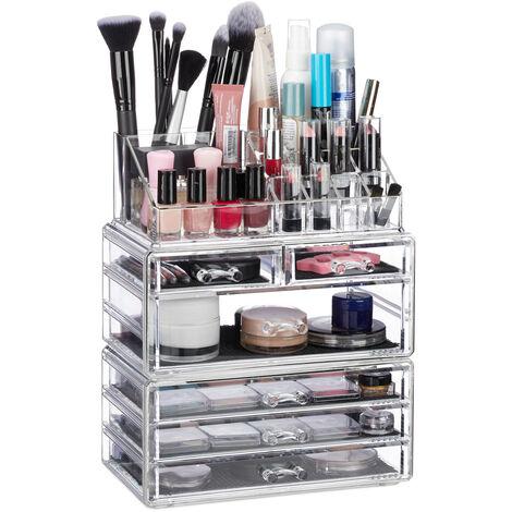 Organiseur de Cosmétiques 6 Tiroirs 22 Casiers Rangement Make-Up Tour à Maquillage Acrylique Transparent