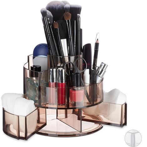 Organiseur de cosmétiques, maquillage Make-Up, rangement, 9 parties, support rond acrylique, marron