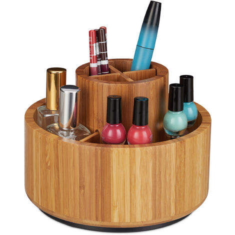 Organiseur de maquillage, bambou, rotatif sur 360 degrés, rond, pour pinceaux, rouge à lèvres D: 20 cm, nature
