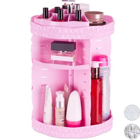 Organiseur de maquillage, rotatif 360 degrés, Acrylique, organiseur cosmétique ajustable, rose