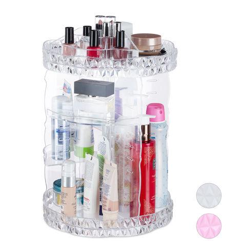 Organiseur de maquillage, rotatif 360 degrés, Acrylique, organiseur cosmétique ajustable, transparent