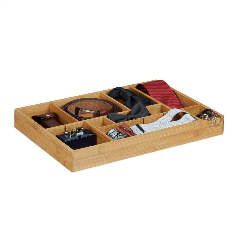 Organiseur de tiroir ajustable HxlxP: 5 x 45 x 32 cm cuisine salle de bain  placard bambou bois, nature
