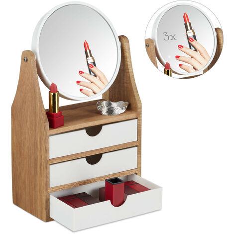 Organiseur Élèvement de maquillage, 3 tiroir, pour coiffeuse, miroir grossissant, 34x19x10,5 cm, naturel/blanc