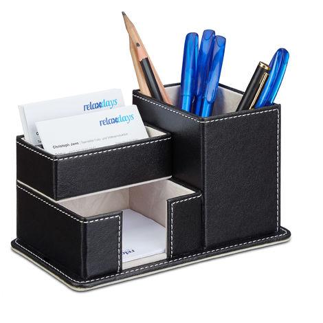 Organiseur fournitures bureau similicuir tiroir, porte-stylo cartes visite 4 compartiments, noir