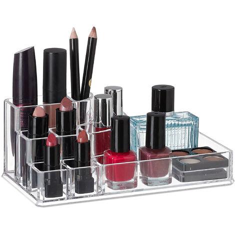 Organizador acrílico de cosméticos, Ocho compartimentos, Mini neceser, Transparente