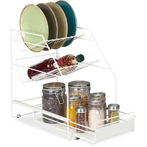 Organizador armario cocina, Extraíble, Sin taladrar, Orden cocina, Soporte platos, 39,5 x 25 x 40 cm, blanco